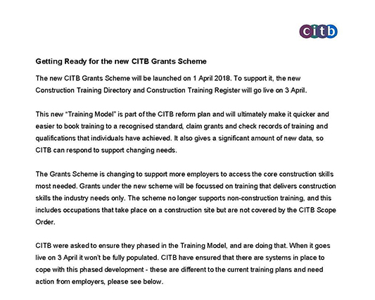 Read about the new CITB grant scheme